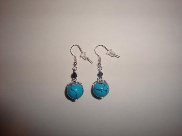 Boucles d 39 oreilles en turquoise 69 centerblog - Tuto boucle d oreille perle ...